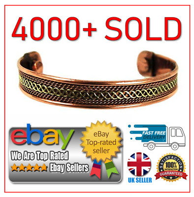 MAGNETIC COPPER BRACELET Bangle Cuff ARTHRITIS Pain Relief Healing Therapy NEW • 3.95£