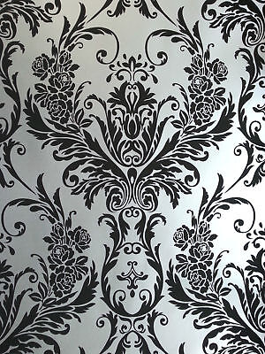 Silver Black Damask Wallpaper Medina Flock Effect Luxury Feature Wall Debona • 12.98£
