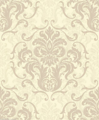 Cream Damask Wallpaper Taupe Effect Feature Debona Chelsea Traditional Feature • 8.75£