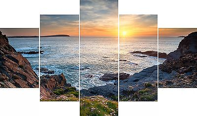 £99.99 • Buy Extra Large Huge Five Piece Set Cornwall Coast Walks Sunset Sea Canvas Picture
