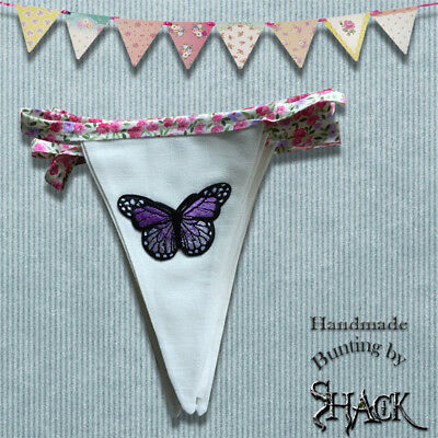 £9.95 • Buy Handmade Bunting - Butterfly Design - Double Sided - Shabby Chic - Glamping