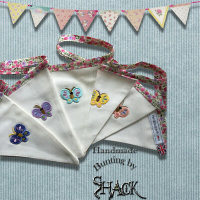 £8.95 • Buy Handmade Bunting - Little Butterfly Design - Double Sided - Shabby Chic