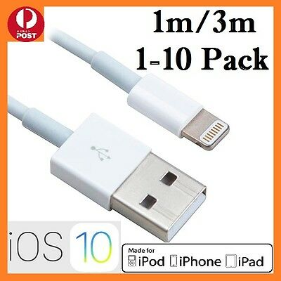 AU5.19 • Buy 1-10 (Pack) 1M 3M USB Data Charging Cable For IPhone 6 7 7Plus 8 X IPad4 Charger