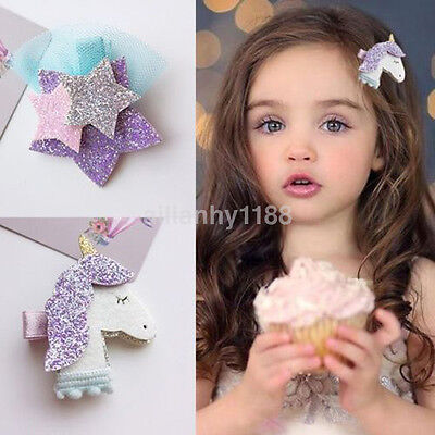 $ CDN1.65 • Buy AU Unicorn Star Girls Hair Clips Hairpins Hair Accessories For Kids Baby Girls