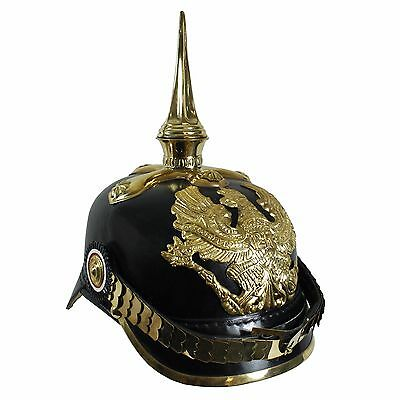 WW1 German Prussian Pickelhaube With Cruciform Base - Repro Helmet Army Soldier • 146.95£
