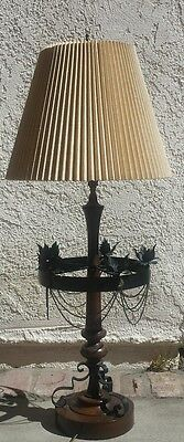 $200 • Buy Vintage Gothic Paul Hanson Metal Wood Table Lamp With Original Shade 38  Tall