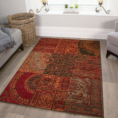 Warm Red Terracotta Rugs Small Large Rug Floral Modern Patchwork Living Room Rug • 49.95£