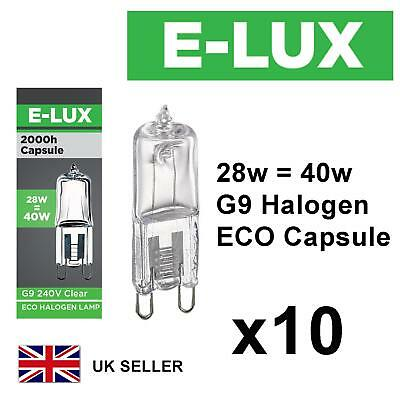 £5.99 • Buy 10 X G9 28w=40w E-LUX DIMMABLE ECO HALOGEN ENERGY SAVING Bulbs Capsule 240V