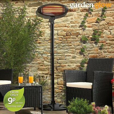 Garden Glow Electric Patio Heater Outdoor Fire Floor Standing 2KW Quartz Black • 39.99£