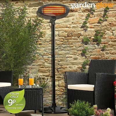 Garden Glow Patio Heater Outdoor Electric Fire Freestanding 2KW Quartz Graphite • 39.99£