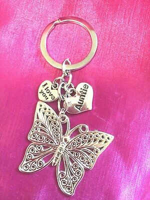 Auntie Heart With Butterfly Keyring Bag Charm With Organza Gift Bag FREEPOST • 2.99£