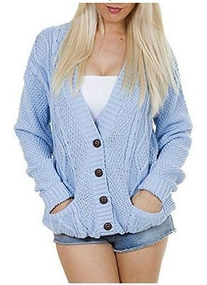 £9.99 • Buy Women Ladies Plus Size Chunky Cable Knit Button  Long Sleeve Cardigan