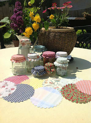 10 Jam Jar Covers Mixed Selection With Free Rubber Bands & 12 Sticky Labels • 2.99£