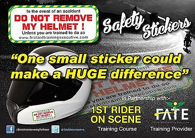 Crash Helmet Safety Stickers    DO NOT REMOVE MY HELMET   • 3£