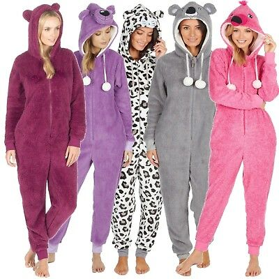 Ladies 1Onesie Hooded All In One Pyjamas Novelty Animal Fleece Zip Girls Pajama • 19.97£