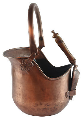 Coal Scuttle Bucket Hod With Shovel Antique Copper Finish Fireplace Accessory • 55£