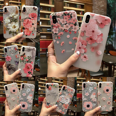 AU4.19 • Buy For IPhone X 8 6s 7 XR XS Max 3D Slim Cute Rubber Soft Pattern Flower Case Cover