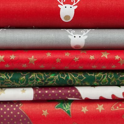 £3.75 • Buy Christmas Printed Quality Material 100% Cotton Fabric By The Metre Or 1/2 Metre