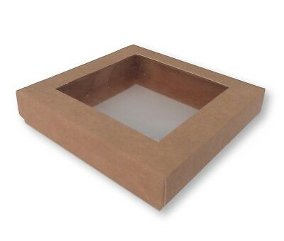 5 Kraft 4 X 4 Inch Window Boxes, Cards, Gifts, Jewellery, Cakes Etc • 4.50£
