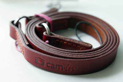 Tan Leather Camera Strap W/ Ring & String Loop Connection CAM2280 UK Stock • 20.99£