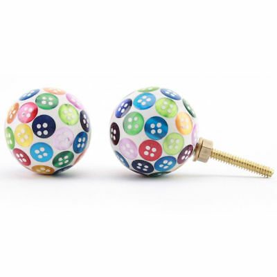 Multi Coloured Shabby Chic Cabinet Door Knob Handles | Button Resin Knobs • 3.49£