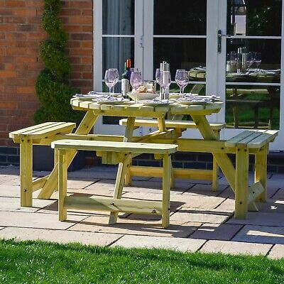 £329.99 • Buy Whitwell Circular 8 Seater Wooden Table - Outdoor Heavy Duty Pub Picnic Bench