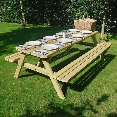 £304.99 • Buy Oakham Rounded Wooden Outdoor Sturdy Pub Style Picnic Bench Table Heavy Duty