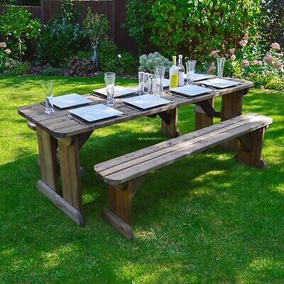 Tinwell Rounded Picnic Table And Bench Set - Wooden Outdoor Garden Heavy Duty • 274.99£