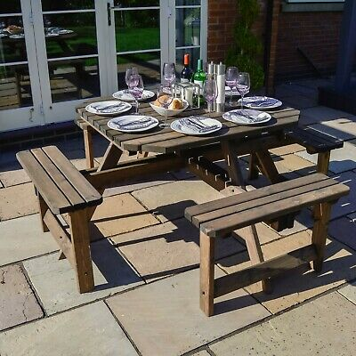 £319.99 • Buy Whitwell Octagonal Pub Picnic Bench - 8 Seater - Outdoor Heavy Duty Wooden Table