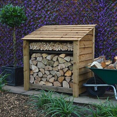 Greetham 4ft Outdoor Wooden Log Store - Also Available With Doors - UK Hand Made • 164.99£