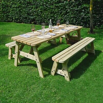 Oakham Wooden Rounded Outdoor Heavy Duty Picnic Table And Bench Set • 259.99£