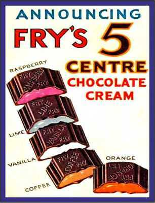 £2.59 • Buy  Announcing Fry's 5 Centre Chocolate Cream Vintage Style Metal Wall Plaque Sign