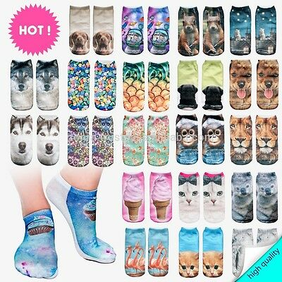 £3.99 • Buy Socks Low Cut Unisex 3D Socks One Size Stretchy Funky Animal Donuts Cat Quirky