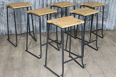 Vintage Style Stacking Stools Lab Stools With Timber Seat • 40£