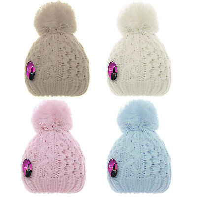 £4.99 • Buy Baby Warm Winter Hat Thick Wooly Double Knitted Cable Bobble Pompom Girls Boys
