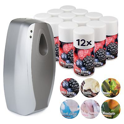 Automatic Air Freshener + Aerosol Refill Cans Set - Commercial Dispenser  • 41.99£
