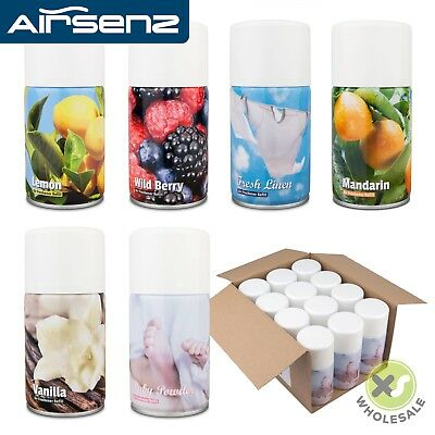 12 X AIR FRESHENER CANS AEROSOL REFILL CAN COMMERCIAL AUTOMATIC DISPENSER 270ML • 29.99£