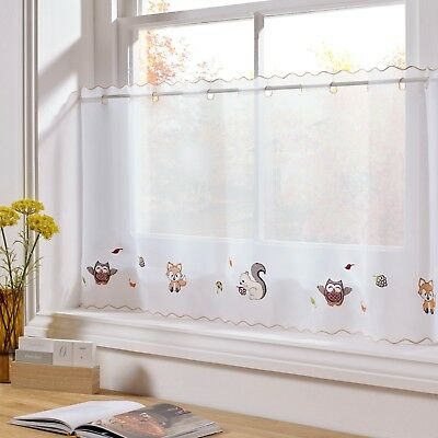£5.92 • Buy Woodland Embroidered Voile  Cafe Curtain Panel, 2 Sizes,