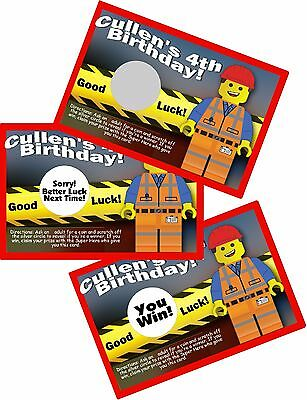 $5.78 • Buy 10 Lego Brick Emmet Scratch Off Party Cards Birthday Favors Scratch Offs Game