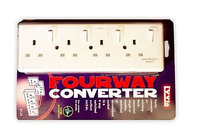 Lyvia Converter Socket. Converts 1 Socket Into 4 Sockets With Surge Protection • 10.20£