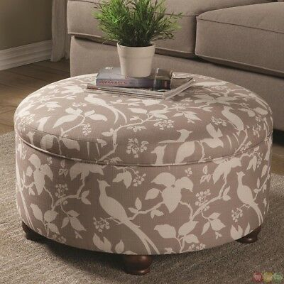 $399 • Buy Muted Tone Printed Upholstery Round Storage Ottoman Footrest Coaster 500060