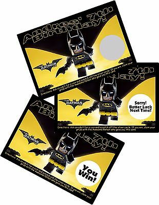 $5.84 • Buy Lego Batman Personalized Scratch Off Offs Party Game Games Cards Birthday Favors