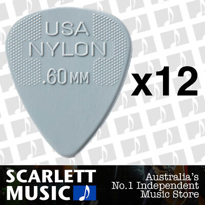 AU7.99 • Buy 12 X Jim Dunlop Nylon Standard Greys .60mm Guitar Picks Plectrums 0.60 Grey