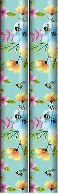 £6.99 • Buy 6m Female Floral Gift Wrapping Paper 2x3m Roll Brown With Pink White Blue Flower