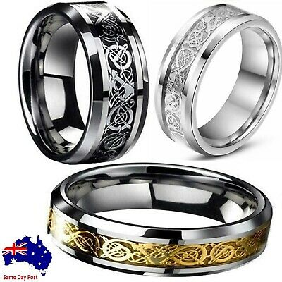 AU5.90 • Buy Fashion Men's Silver Gold Black Celtic Dragon Stainless Steel Wedding Band Ring