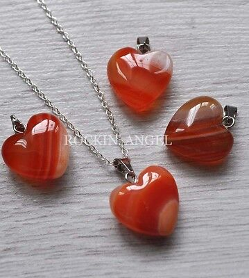 £5.99 • Buy 925 Silver & Carnelian Agate 16mm Heart Pendant Necklace Crystal Reiki Healing