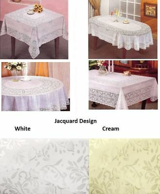 Vinyl Jacquard Design Embossed Lace Tablecloth Cover Round Square Oval Rectangle • 4.48£