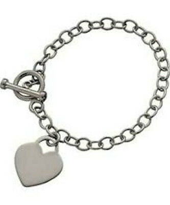 CLEARANCE*Source*Sterling Silver*T-Bar Heart Charm Carrier Bracelet*RRP 34.99 • 16.95£