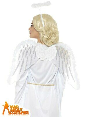 £8.79 • Buy Adult Pure White Angel Set Nativity Christmas Fancy Dress Accessory Wings + Halo
