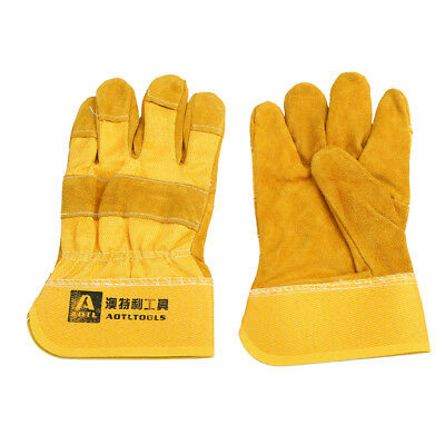 £8.47 • Buy Yellow Mig Welding Gauntlets Protective Gloves Heat Resistant Leather 2pcs